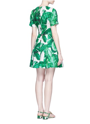 Back View - Click To Enlarge - Dolce & Gabbana - Pineapple embellished banana leaf print brocade dress