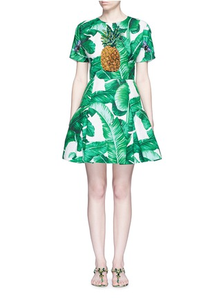 Main View - Click To Enlarge - Dolce & Gabbana - Pineapple embellished banana leaf print brocade dress