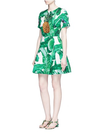 Figure View - Click To Enlarge - Dolce & Gabbana - Pineapple embellished banana leaf print brocade dress