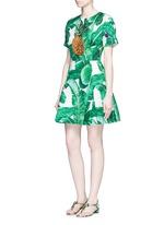 Pineapple embellished banana leaf print brocade dress