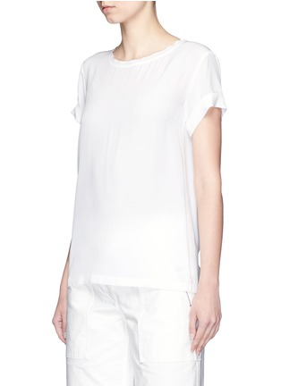 Front View - Click To Enlarge - Theory - 'Bakeeve' fold cuff silk georgette T-shirt