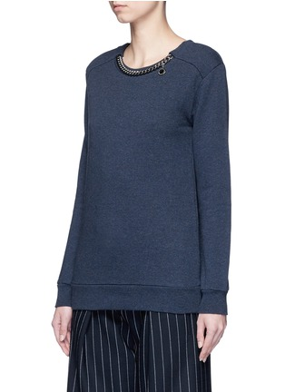 Front View - Click To Enlarge - Stella McCartney - 'Falabella' chain cotton French terry sweater