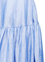 Ramie blend chambray gathered skirt