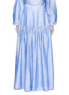 CoRamie blend chambray gathered skirt