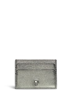 Alexander McQueen Skull metallic grainy leather card holder