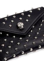 Skull stud envelope leather card holder
