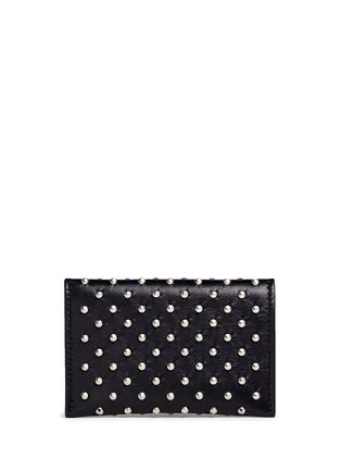 Figure View - Click To Enlarge - Alexander McQueen - Skull stud envelope leather card holder