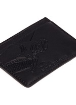 Lizard skeleton debossed leather card holder