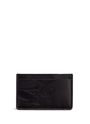 Alexander McQueen-Lizard skeleton debossed leather card holder