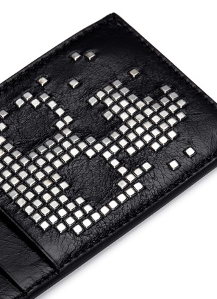 Detail View - Click To Enlarge - Alexander McQueen - Stud pixel skull leather cardholder