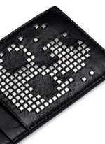 Stud pixel skull leather cardholder