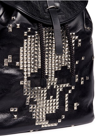 Detail View - Click To Enlarge - Alexander McQueen - Pixel skull stud leather backpack