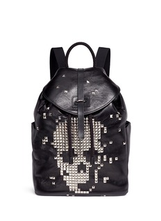 Alexander McQueen Pixel skull stud leather backpack
