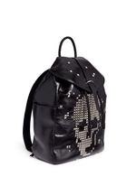 Pixel skull stud leather backpack