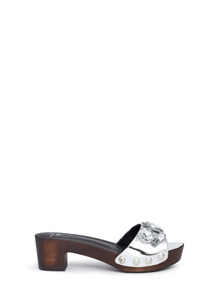 Main View - Click To Enlarge - Giuseppe Zanotti Design - 'Gladis' jewelled mirror leather clog sandals