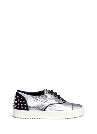 Main View - Click To Enlarge - Giuseppe Zanotti Design - 'May London' spike stud metallic leather sneakers