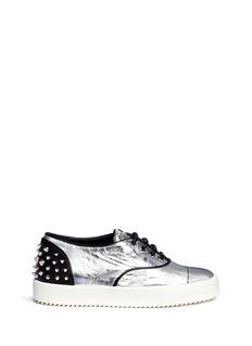 GIUSEPPE ZANOTTI DESIGN'May London' spike stud metallic leather sneakers