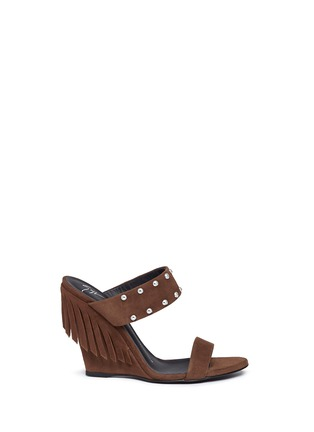 Main View - Click To Enlarge - Giuseppe Zanotti Design - 'Taline' stud suede wedge sandals