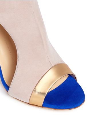 Detail View - Click To Enlarge - Giuseppe Zanotti Design - 'Caitie' colourblock mirror band suede sandals