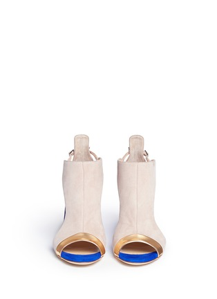 Front View - Click To Enlarge - Giuseppe Zanotti Design - 'Caitie' colourblock mirror band suede sandals