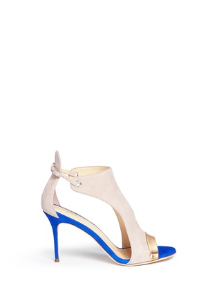 Main View - Click To Enlarge - Giuseppe Zanotti Design - 'Caitie' colourblock mirror band suede sandals