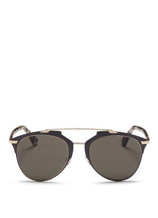 Dior-'Reflected' tortoiseshell acetate temple metal veneer aviator sunglasses