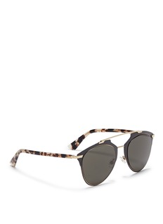 DIOR 'Reflected' tortoiseshell acetate temple metal veneer aviator sunglasses