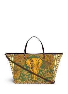 VALENTINO'Rockstud' reversible elephant print tribal relief leather tote