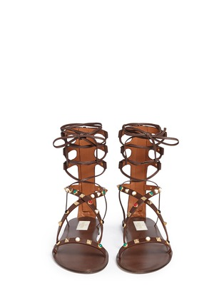 Front View - Click To Enlarge - Valentino - 'Rockstud Rolling' cabochon leather gladiator sandals