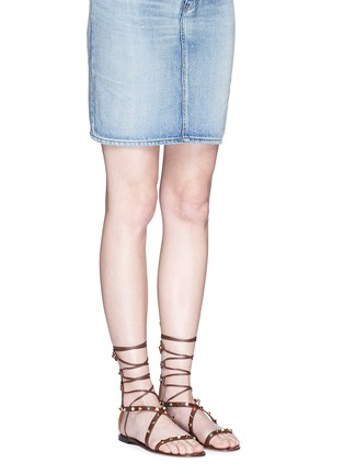 Figure View - Click To Enlarge - Valentino - 'Rockstud Rolling' cabochon leather gladiator sandals