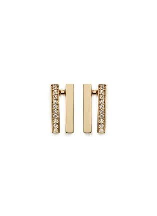 Main View - Click To Enlarge - Michelle Campbell - Flame' diamond pavé 14k gold earrings