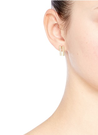 Figure View - Click To Enlarge - Michelle Campbell - Flame' diamond pavé 14k gold earrings