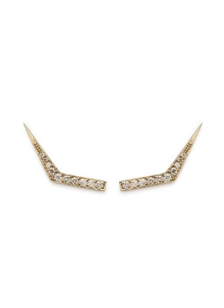 Main View - Click To Enlarge - Michelle Campbell - Tab' diamond pavé 14k gold climber earrings
