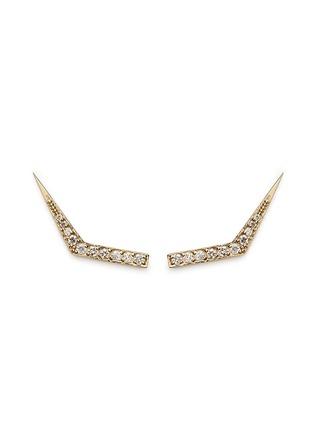 Michelle Campbell-Tab' diamond pavé 14k gold climber earrings