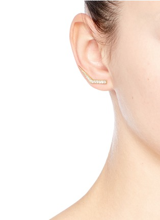 Figure View - Click To Enlarge - Michelle Campbell - Tab' diamond pavé 14k gold climber earrings