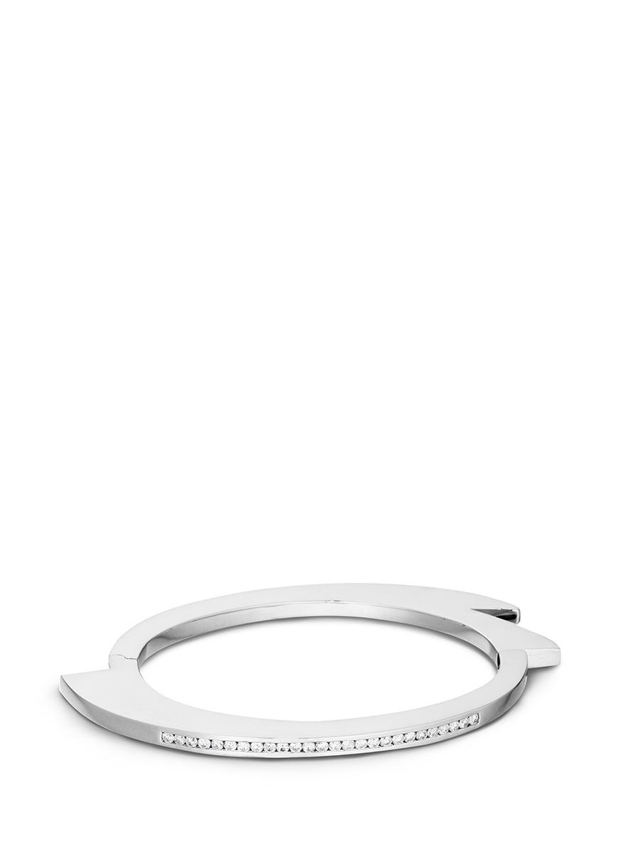 Handcuff 1 diamond sterling silver hinged bangle by Lynn Ban