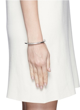 Lynn Ban - 'Handcuff 1' diamond sterling silver hinged bangle
