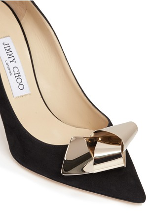 Detail View - Click To Enlarge - Jimmy Choo - 'Vesna 100' metal twist knot suede pumps