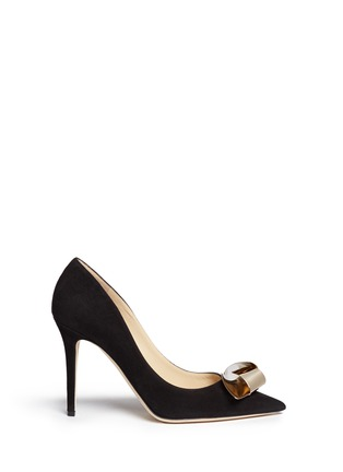 Main View - Click To Enlarge - Jimmy Choo - 'Vesna 100' metal twist knot suede pumps