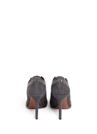 Back View - Click To Enlarge - Alaïa - Stud suede booties