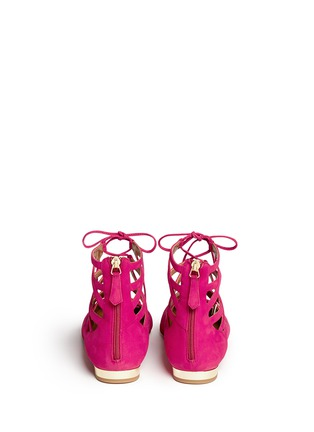 Back View - Click To Enlarge - Aquazzura - 'Belgravia' caged suede flats