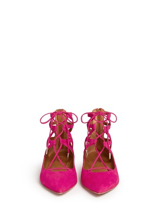 Figure View - Click To Enlarge - Aquazzura - 'Belgravia' caged suede flats