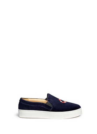 Main View - Click To Enlarge - Bing Xu - 'Tribeca Sailing' embroidery velvet skate slip-ons