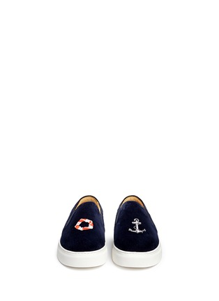 Figure View - Click To Enlarge - Bing Xu - 'Tribeca Sailing' embroidery velvet skate slip-ons