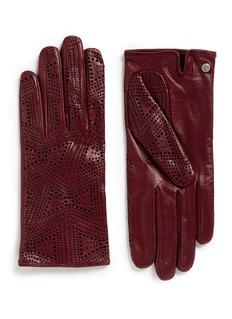 GEORGES MORANDDot perforation kid leather gloves