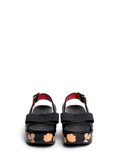 MARNI Floral embellishment leather wedge platform sandals