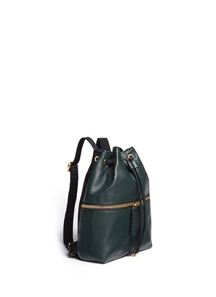 Front View - Click To Enlarge - Marni - 'Zaino' mini leather drawstring zip backpack