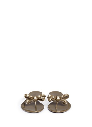 Figure View - Click To Enlarge - Valentino - 'Rockstud' bow flat jelly sandals