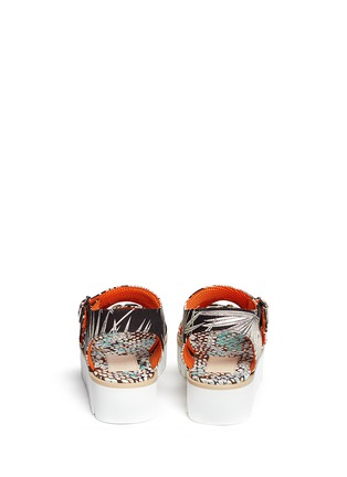 Back View - Click To Enlarge - MSGM SHOES - Jewelled tropical print fabric platform sandals