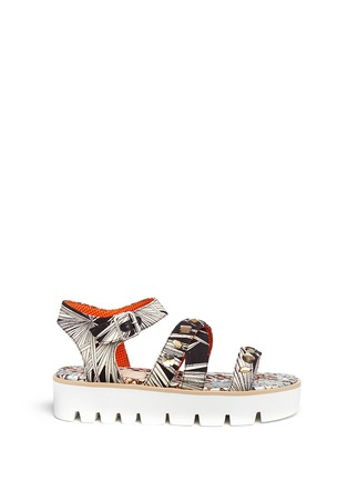 Main View - Click To Enlarge - MSGM SHOES - Jewelled tropical print fabric platform sandals